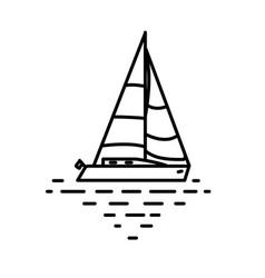 Flat linear sail yacht vector