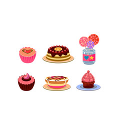 flat set of different sweets tasty vector image