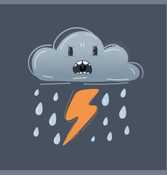 funny icon angry dark raining striking vector image