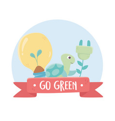 Go green bulb turtle and plug environment ecology vector