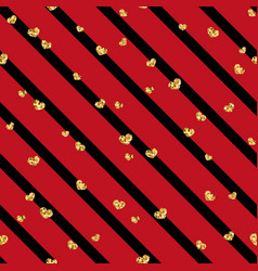 Gold heart seamless pattern black-red geometric vector