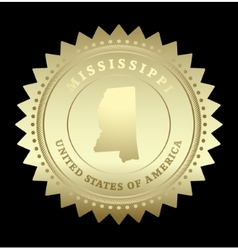 Gold star label Mississippi vector