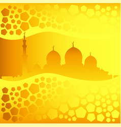 golden mosque silhouette and pentagons pattern vector image