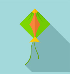 Green kite icon flat style vector