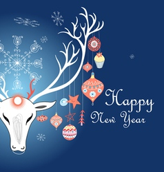 greeting christmas card with a picture of a deer vector image