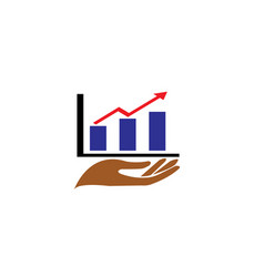 hand and chart bar arrow for statistics and vector image