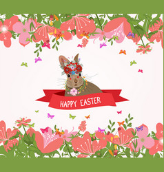 happy easter rabbit and flower frame vector image