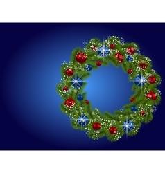 Holiday card Christmas wreath Green fir branches vector image