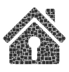 Home keyhole mosaic of squares and circles vector