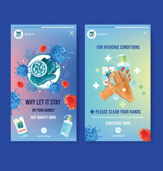 Ig stories ad with watercolor painting hands vector