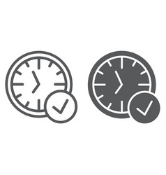in-time line and glyph icon watch and countdown vector image