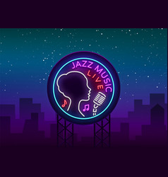 Jazz music is a neon style logo neon sign symbol vector