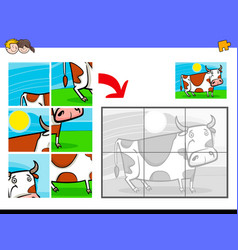 Jigsaw puzzles with cow farm animal vector