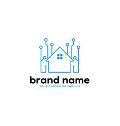 Logo design house technology vector