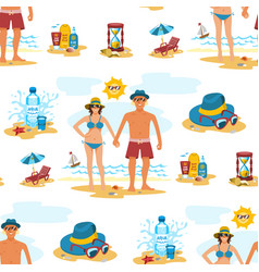 man and woman seamless pattern background couple vector image