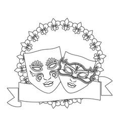 masks with ribbon vector image