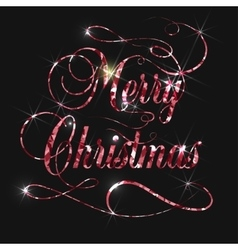 Merry christmas gold glitter lettering design vector