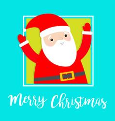 merry christmas santa claus in corner hands vector image
