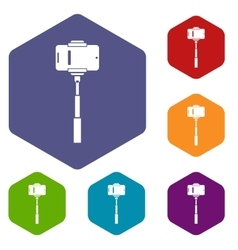 Mobile phone on a selfie stick icons set vector image