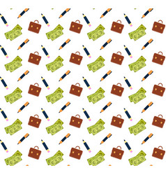 money cash banknotes briefcase pencil icon vector image