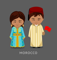 Moroccans in national dress with a flag vector