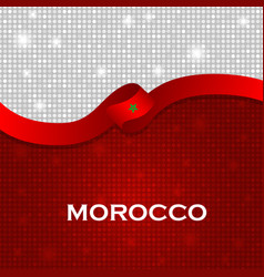 Morocco flag ribbon shiny particle style vector