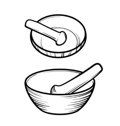Mortar and pestle Linear logo vector image