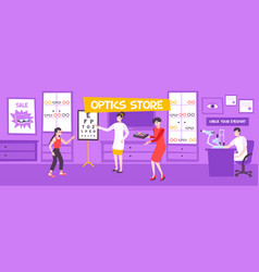 optics store flat composition vector image