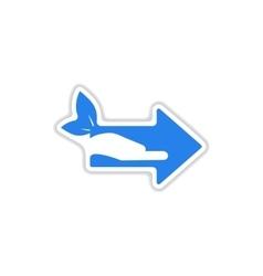 Paper sticker on white background arrow hand vector