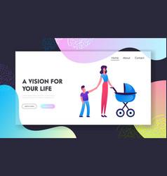 parenting motherhood website landing page young vector image