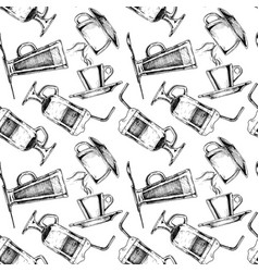 Pattern with coffee cups vector