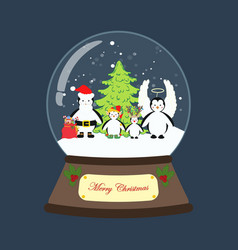 Penguin in christmas costume in snowball vector