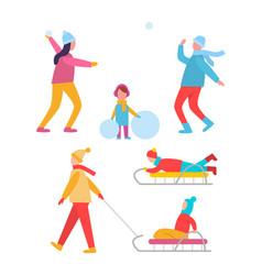 peoples activities in winter vector image
