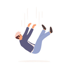 Person falling down from above fall young man vector