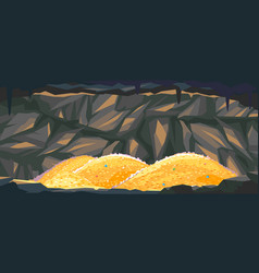 piles gold coins in cave vector image