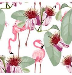 Pink flamingo graphic palm leaves pattern vector