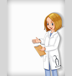 Plain background with female doctor smiling vector