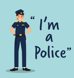 policeman character with uniform on sky blue vector image