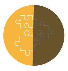 Puzzle pieces object shape work icon circle vector