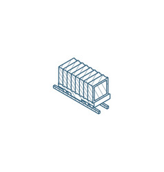 railway container wagon load isometric icon 3d vector image