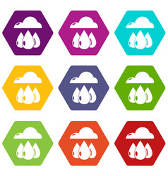 rain weather icons set 9 vector image