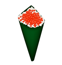Red Caviar Salmon Roe in Temaki Sushi vector