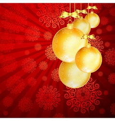 Red Christmas backdrop with gold balls vector image