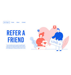 refer friend mobile communication landing page vector image