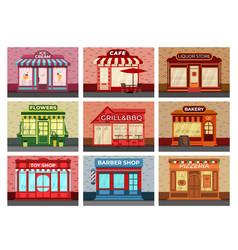 Retro store facades different stores local vector