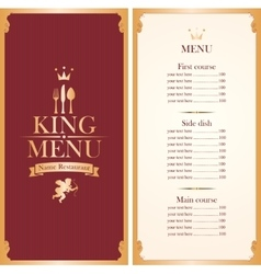royal king menu vector image vector image