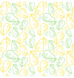 Seamless pattern pears fruits summer ornament vector