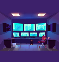 Security control cctv room interior with monitors vector