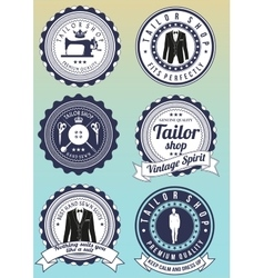 Set of dark blue round badges for tailor shops vector image