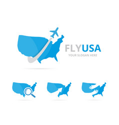 set of usa logo combination america and travel vector image